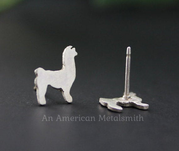 Sterling Silver Llama Earrings handmade by An American Metalsmith