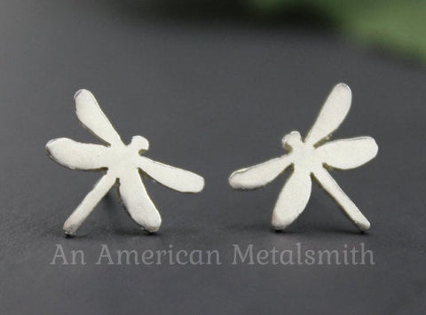 Sterling silver dragonfly earrings by An American Metalsmith