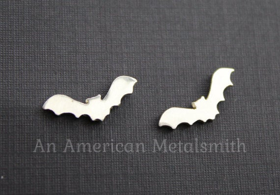 Sterling silver bat earrings by An American Metalsmith