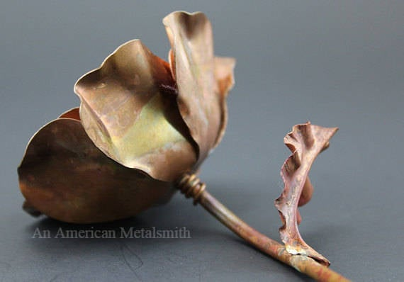 Copper rose made by An American Metalsmith