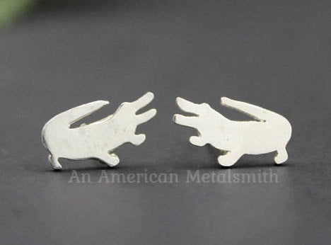 Sterling silver alligator earrings made by An American Metalsmith