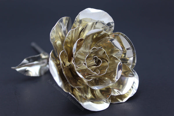 Sterling silver rose handmade by An American Metalsmith