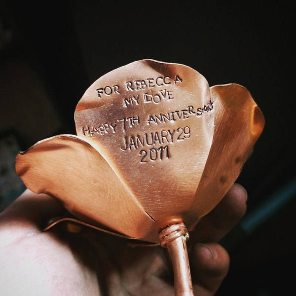 Copper rose with personalization made by An American Metalsmith