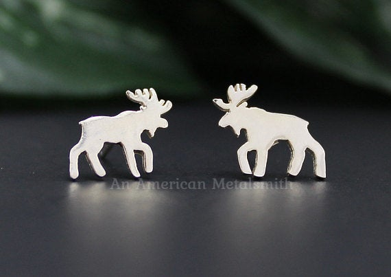 Sterling Silver Moose Earrings handmade by An American Metalsmith