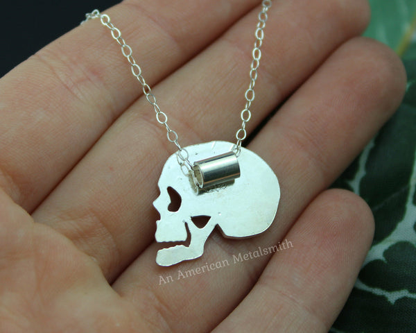 Rear view of sterling silver skull necklace handmade by An American Metalsmith