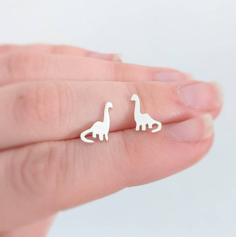 Sterling Silver Brontosaurus Dinosaur Earrings handmade by An American Metalsmith