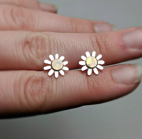 Sterling silver brass daisy earrings handmade by An American Metalsmith
