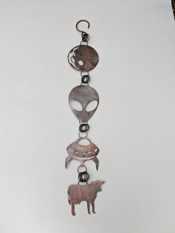 Space, alien, moon, spaceship, cow abduction copper wall hanging made by An American Metalsmith