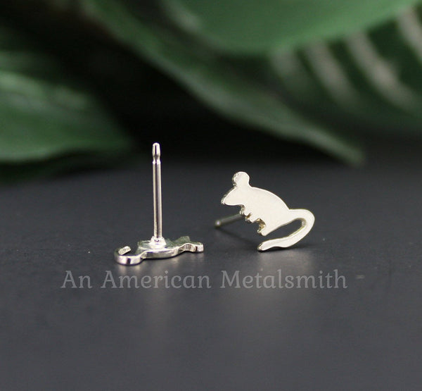 Sterling silver mouse, rat earrings made by An American Metalsmith