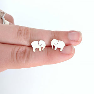 Sterling Silver Elephant Earrings handmade by An American Metalsmith