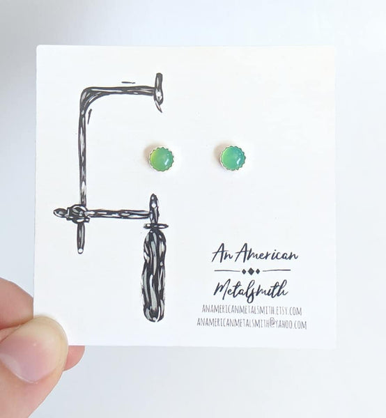 Sterling Silver Chrysoprase Earrings handmade by An American Metalsmith