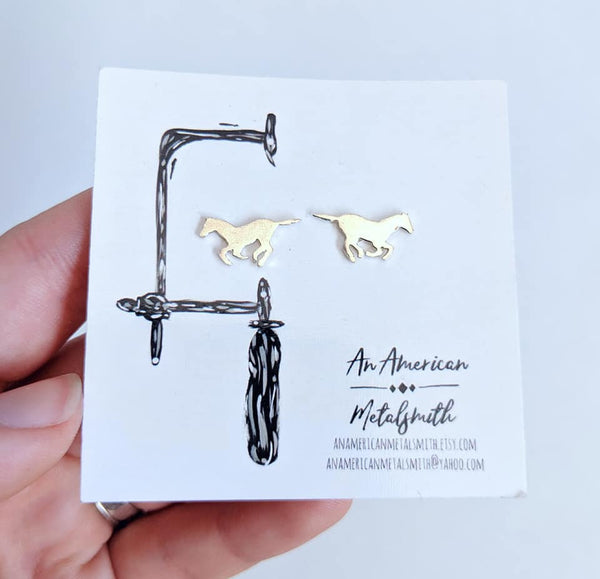 Sterling Silver Horse Earrings handmade by An American Metalsmith