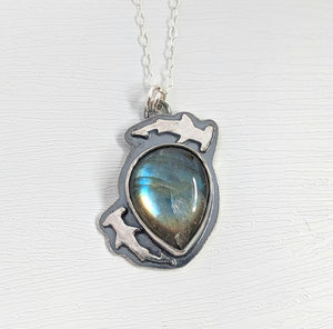 Sterling Silver Hammerhead and Labradorite Necklace