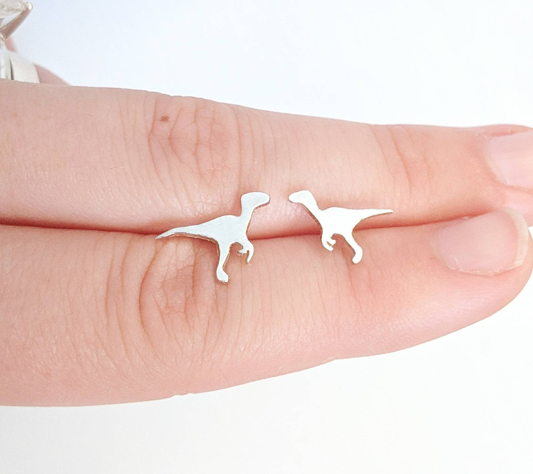 Sterling Silver Velociraptor Dinosaur Earrings