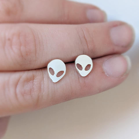 Sterling silver space, alien earrings made by An American Metalsmith
