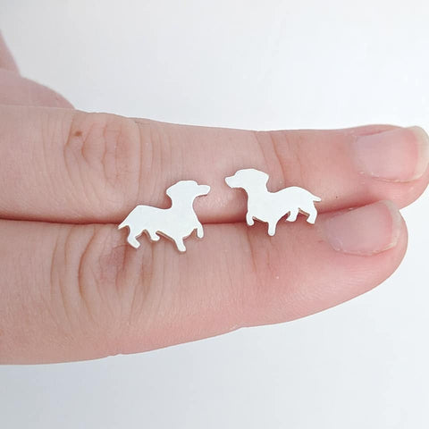 Sterling Silver Dachshund Earrings handmade by An American Metalsmith