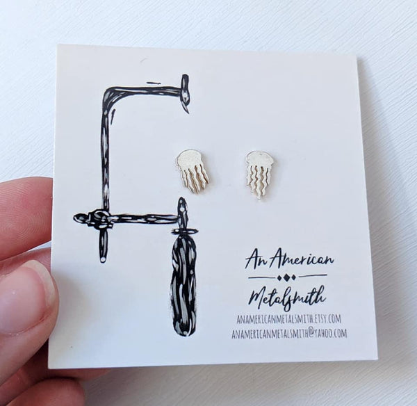 Sterling Silver Jellyfish Earrings handmade by An American Metalsmith