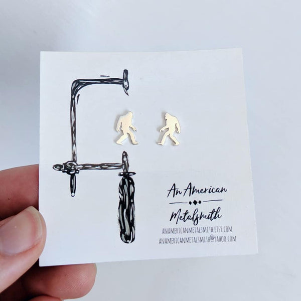 Sterling Silver Sasquatch Earrings handmade by An American Metalsmith