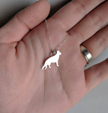 Sterling silver German Shepherd necklace handmade by An American Metalsmith