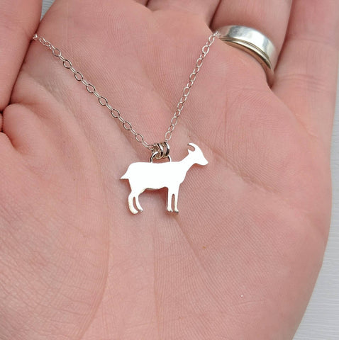Sterling Silver Goat Necklace handmade by An American Metalsmith