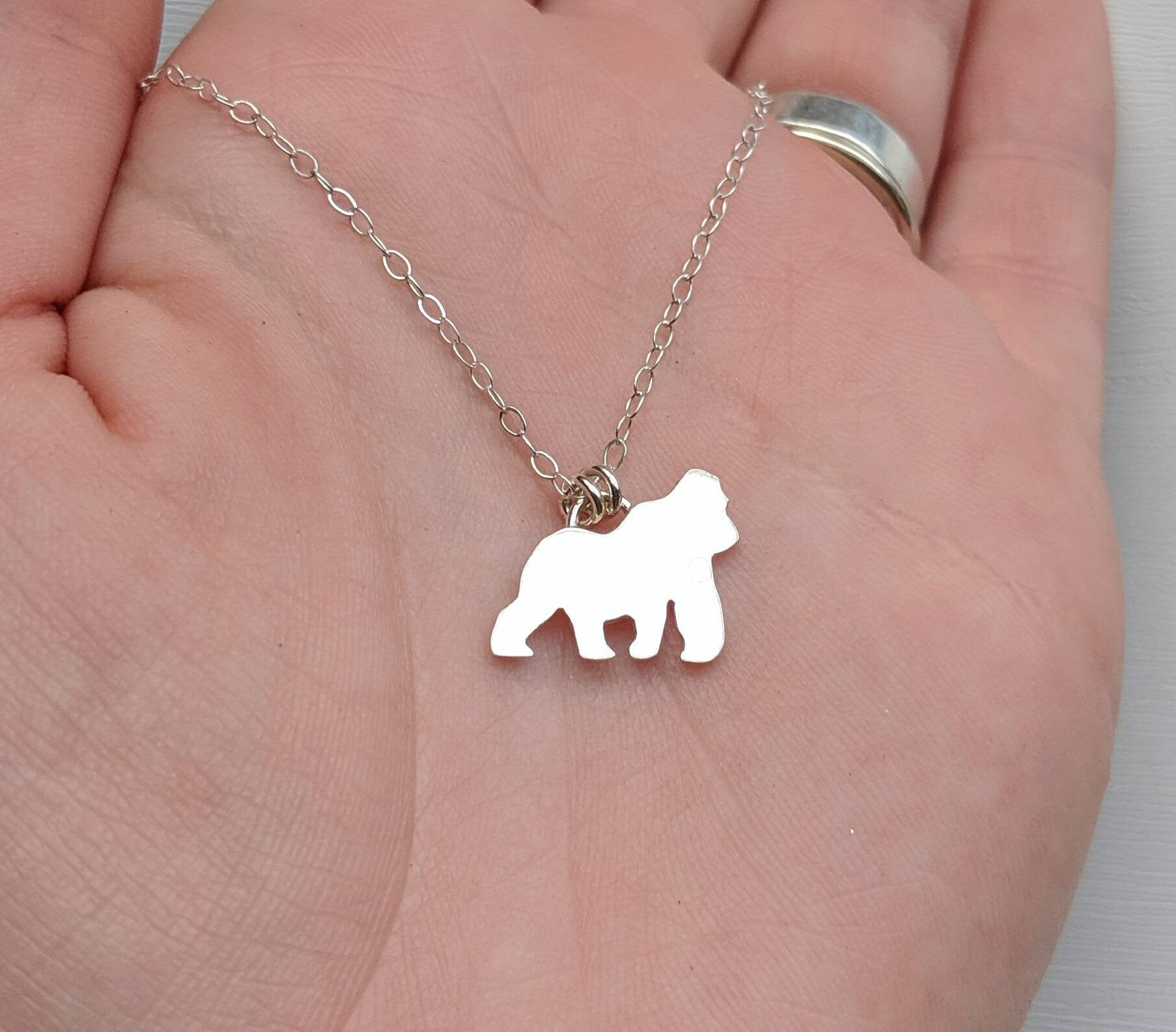 Sterling Silver Gorilla Necklace handmade by An American Metalsmith