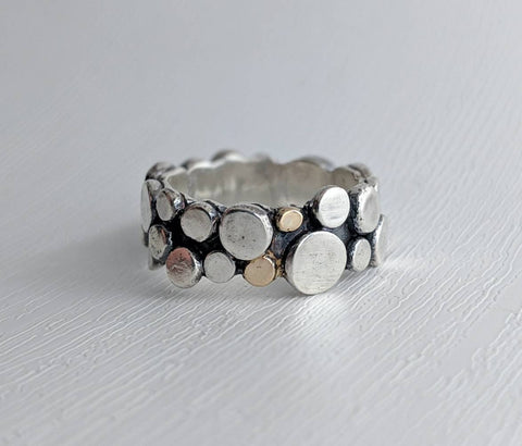 14k gold, sterling silver, ring made by An American Metalsmith