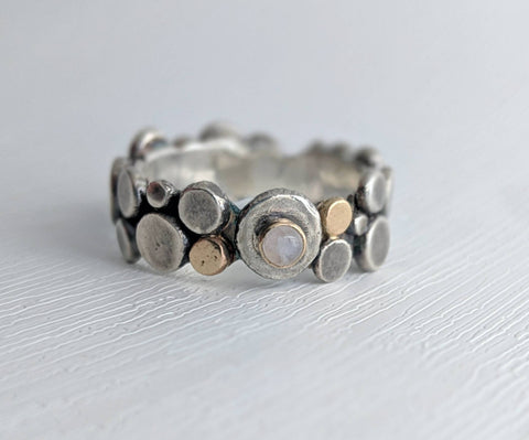 14k gold, sterling silver, and moonstone ring made by An American Metalsmith