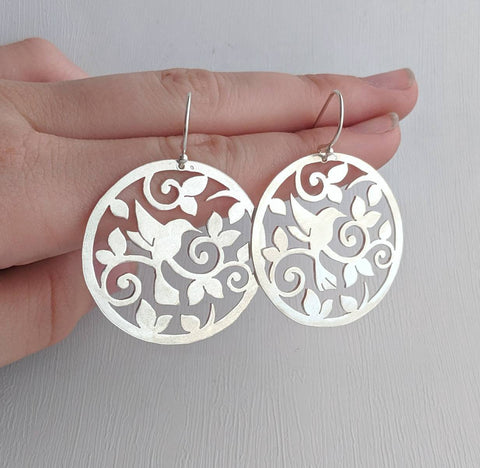 Sterling Silver Filigree Bird Earrings handmade by An American Metalsmith