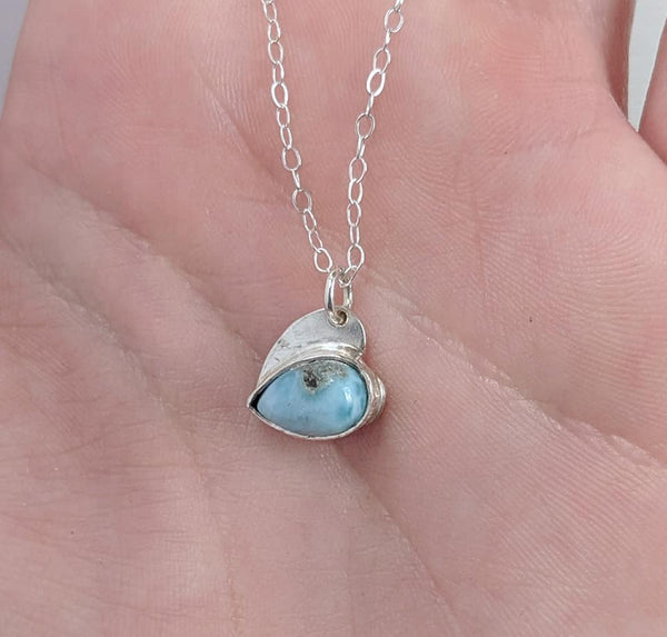 Sterling Silver Larimar Heart handmade by An American Metalsmith
