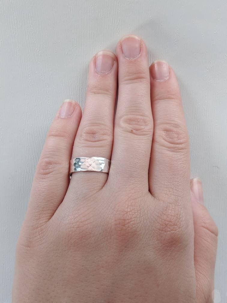 Sterling Silver Hammered Ring handmade by An American Metalsmith