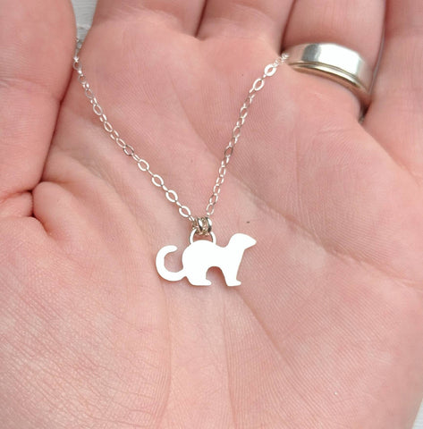 Sterling Silver Ferret Necklace handmade by An American Metalsmith