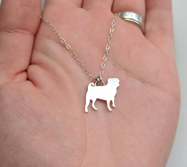 Sterling Silver Pug Necklace handmade by An American Metalsmith