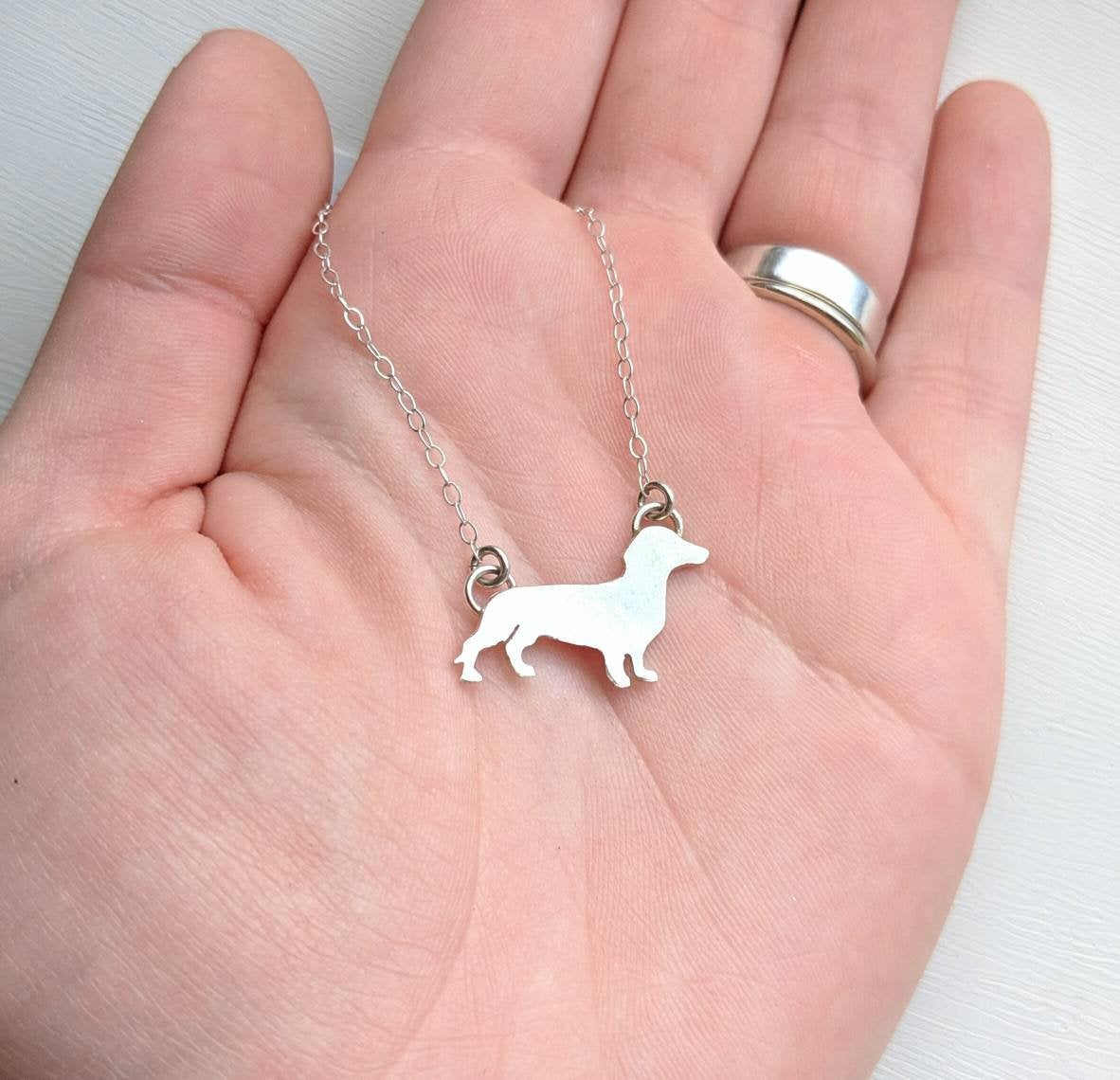 Sterling silver dachshund necklace handmade by An American Metalsmith