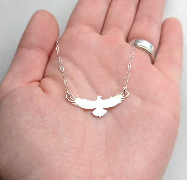 Sterling Silver Eagle Necklace handmade by An American Metalsmith