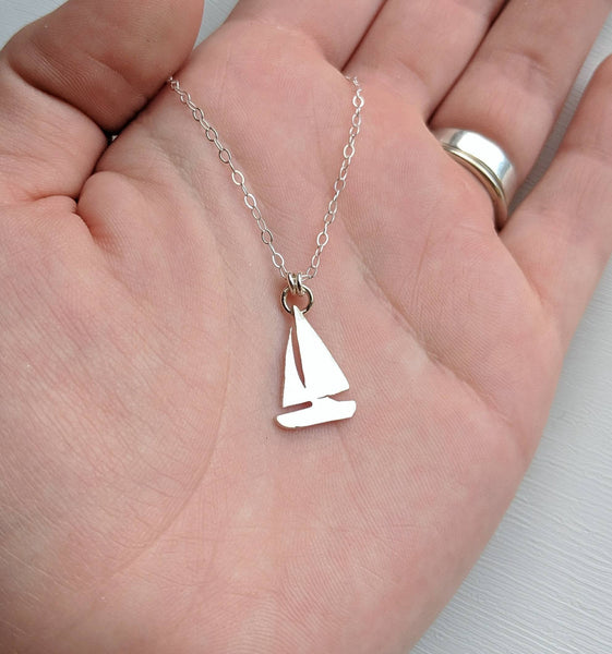 Sterling Silver Sailboat Necklace handmade by An American Metalsmith