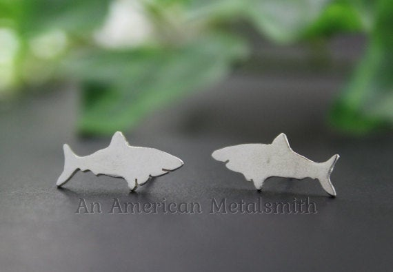 Sterling Silver Shark Earrings handmade by An American Metalsmith