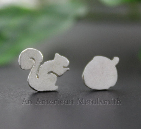 Sterling Silver Squirrel Earrings handmade by An American Metalsmith