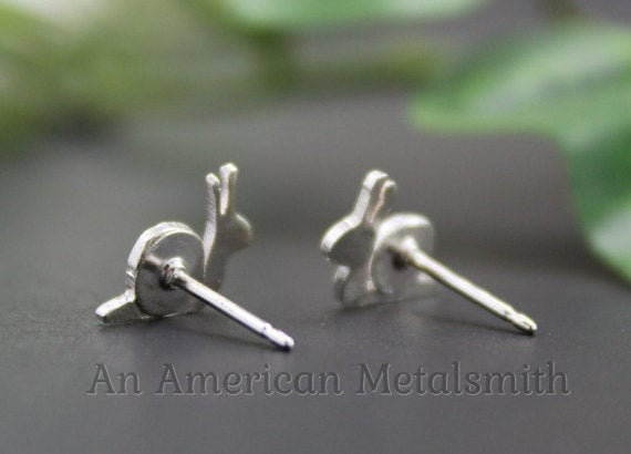 Rear view of Sterling Silver Snail Earrings handmade by An American Metalsmith