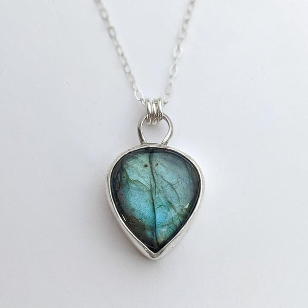 Sterling Silver and Blue Labradorite Necklace