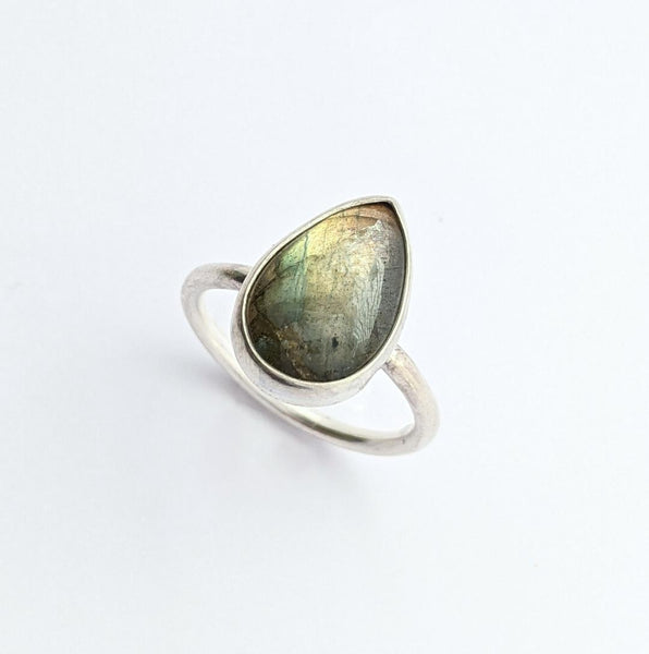 Sterling Silver Labradorite Ring, Size 9 US