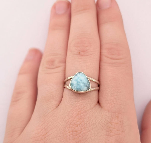Sterling Silver Larimar Ring, Size 6.5 US
