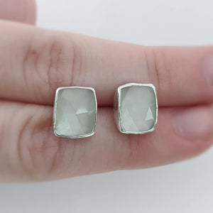 Sterling Silver Rose Cut Moonstone Stud Earrings