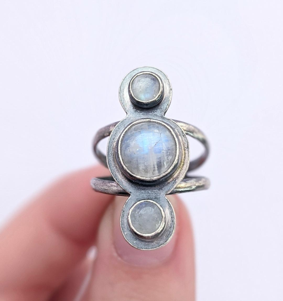 Sterling Silver Moonstone Ring, Size 7.5 US