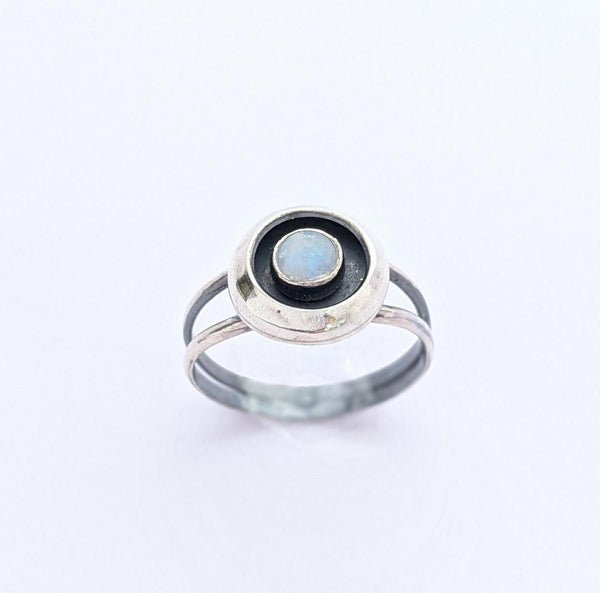 Sterling Silver Moonstone Shadowbox Ring, Size 8 US