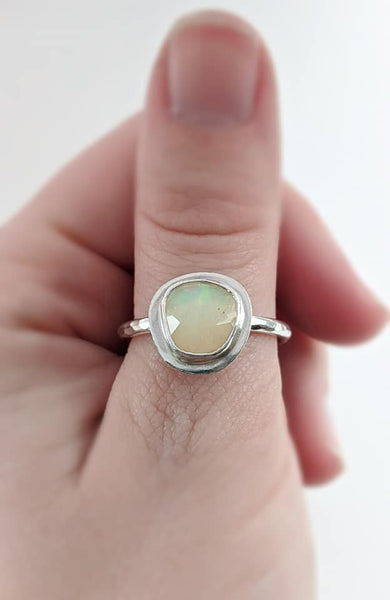 Sterling Silver Opal Ring, Size 9.5 US