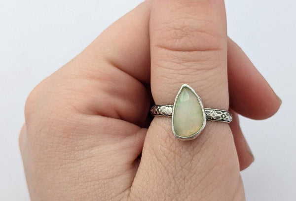 Sterling Silver Opal Ring, Size 7