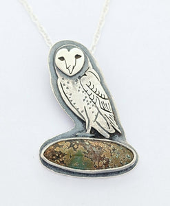 Sterling Silver Owl Necklace with Turquoise
