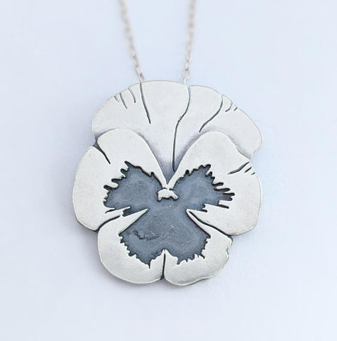 Sterling Silver Pansy Necklace