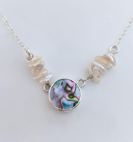 Sterling Silver Abalone and Pearl Necklace