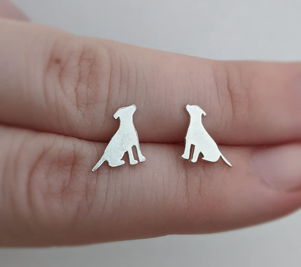 Sterling Silver Pitbull Stud Earrings